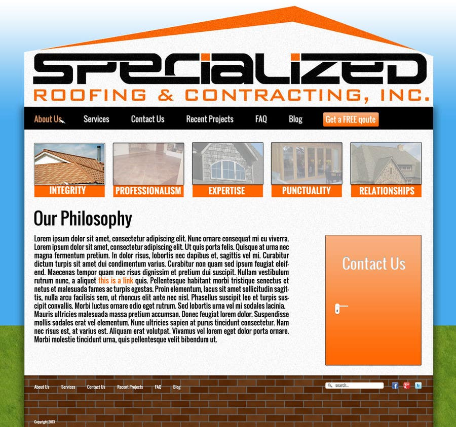 Bài tham dự cuộc thi #                                        17                                      cho                                         Wordpress Theme Design for Specialized Roofing & Contracting Inc.