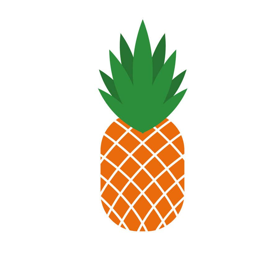 Contest Entry #8 for I need you to make a simple design of a pineapple. It doesnt really need to much detail. Just have a yellow pineapple with a green top (leaves).