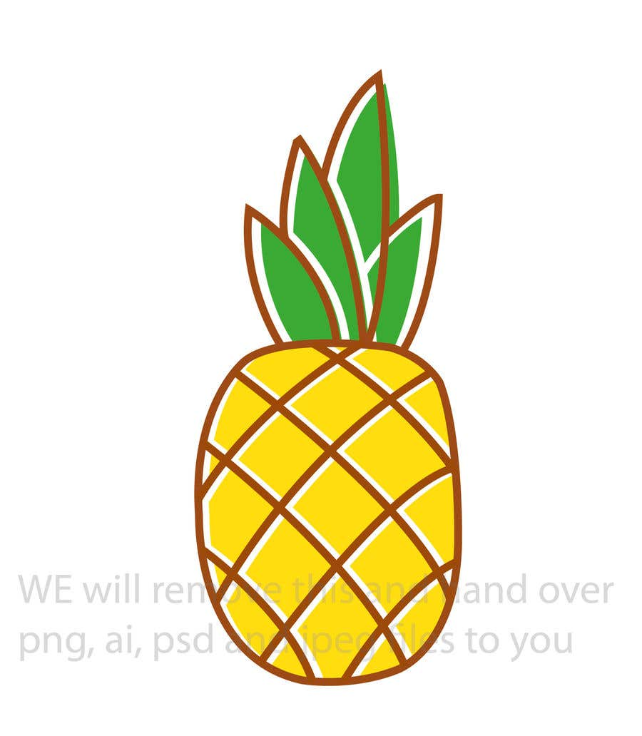 Contest Entry #14 for I need you to make a simple design of a pineapple. It doesnt really need to much detail. Just have a yellow pineapple with a green top (leaves).