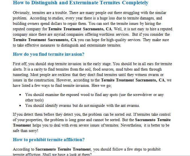 Entry #4 by Shakz96 for Write 1 SEO Article for Us TODAY | Termite