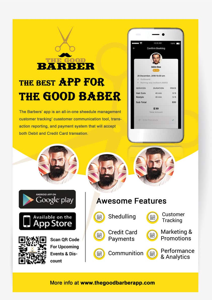 entry 12 by sanaparchana8 for promotion flyer for the good barber