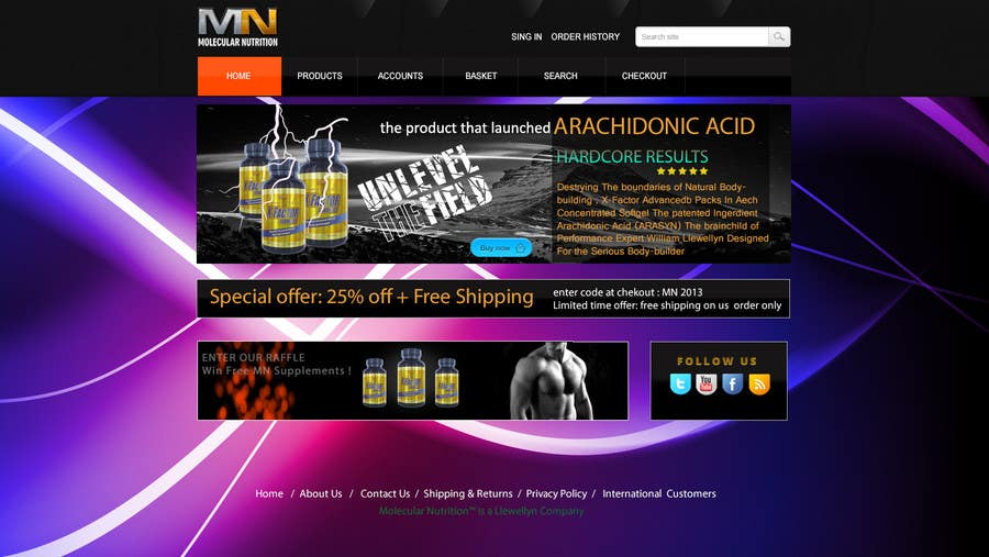 Penyertaan Peraduan #                                        17                                      untuk                                         Website for Sports Nutrition Co. NO CODING / GFX ONLY