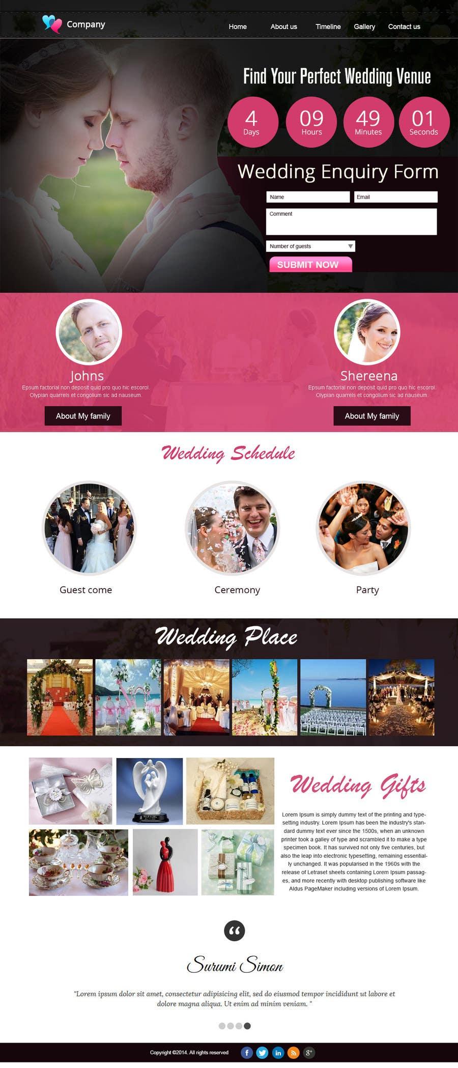 Penyertaan Peraduan #                                        7                                      untuk                                         Wedding design - one page template