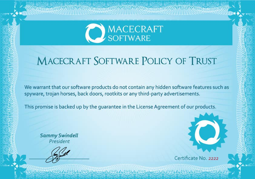 Contest Entry #23 for Website Certificate Design for Macecraft Software