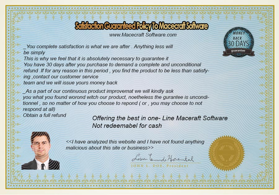 Contest Entry #4 for Website Certificate Design for Macecraft Software