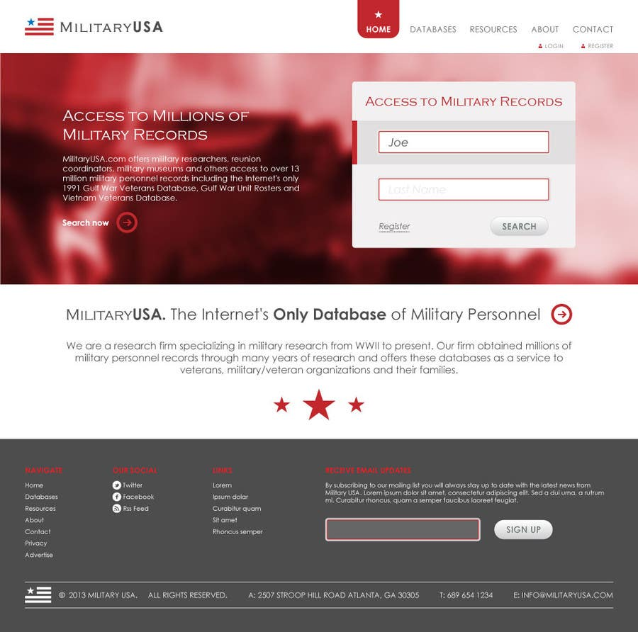 #21 for Website Design for MilitaryUSA.com by WebofPixels