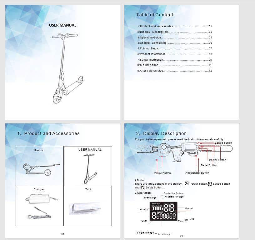 Конкурсная заявка №                                        2                                      для                                         Дизайн инструкции для электросамоката