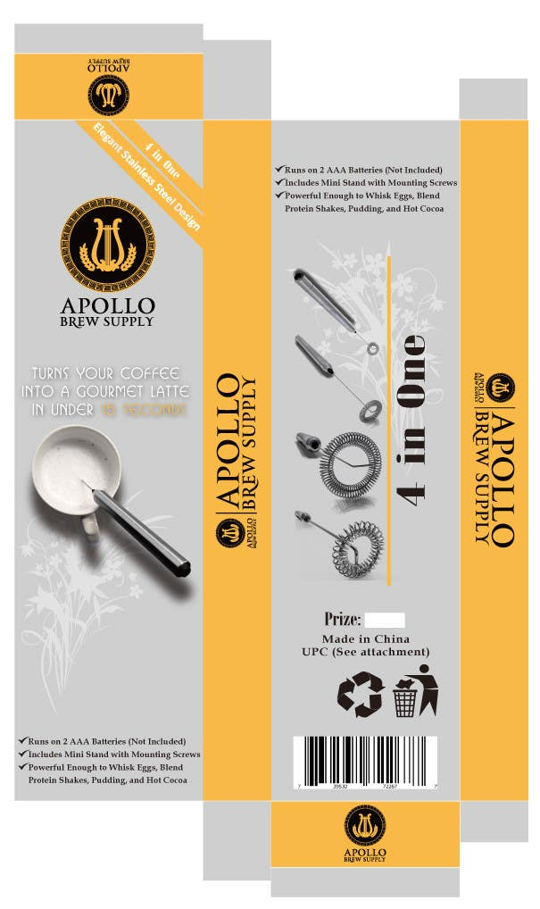 Inscrição nº                                         3                                      do Concurso para                                         Create Print and Packaging Designs for Milk Frother Tool