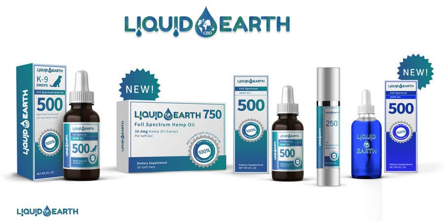 Penyertaan Peraduan #31 untuk I need a mockup of our product line with our label added to each item, which includes our logo (Liquid Earth CBD) and a discription on the bottles and boxes. Logo will be provided for you. There are about 5 products id like displayed in the picture.