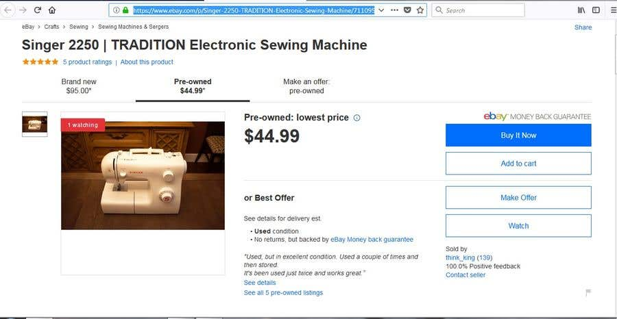 Contest Entry 12 For Find Me The Best Offer A Singer 2250 Sewing Machine