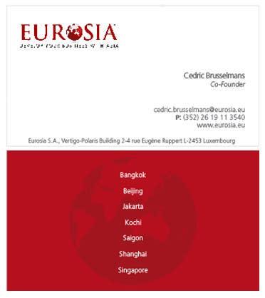 Inscrição nº 39 do Concurso para Business Card Design for www.eurosia.eu