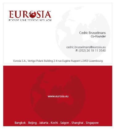Kilpailutyö #                                        41                                      kilpailussa                                         Business Card Design for www.eurosia.eu