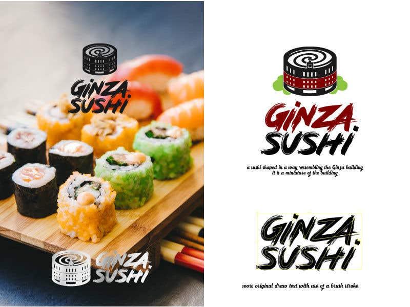 Συμμετοχή Διαγωνισμού #27 για Logo design for new restaurant. The name is Ginza Sushi.   We are looking for classy logo with maroon, Black and touches of silver (silver bc of the meaning). Would also like a brushstroke look but a highly visible name.