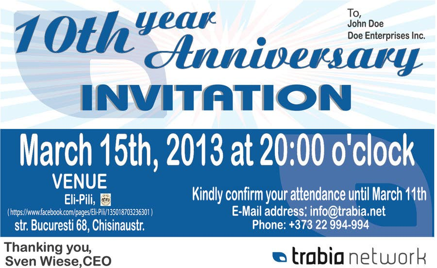 Contest Entry #61 for Corporate Party Invitation Design for 10th anniversary