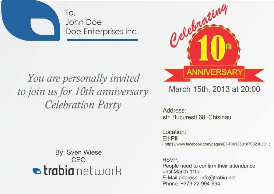 Photography Contest Entry #126 for Corporate Party Invitation Design for 10th anniversary