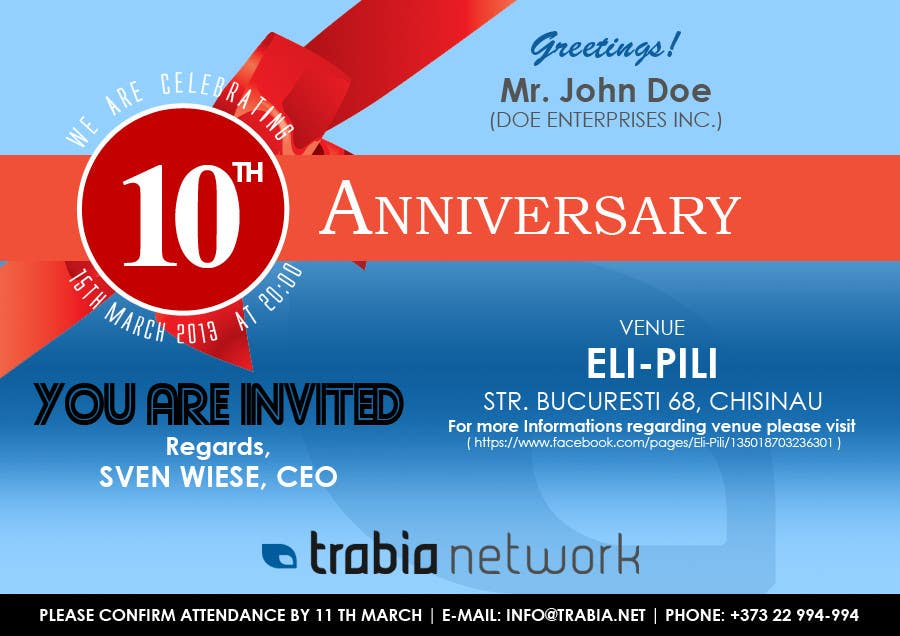 Photography Contest Entry #127 for Corporate Party Invitation Design for 10th anniversary