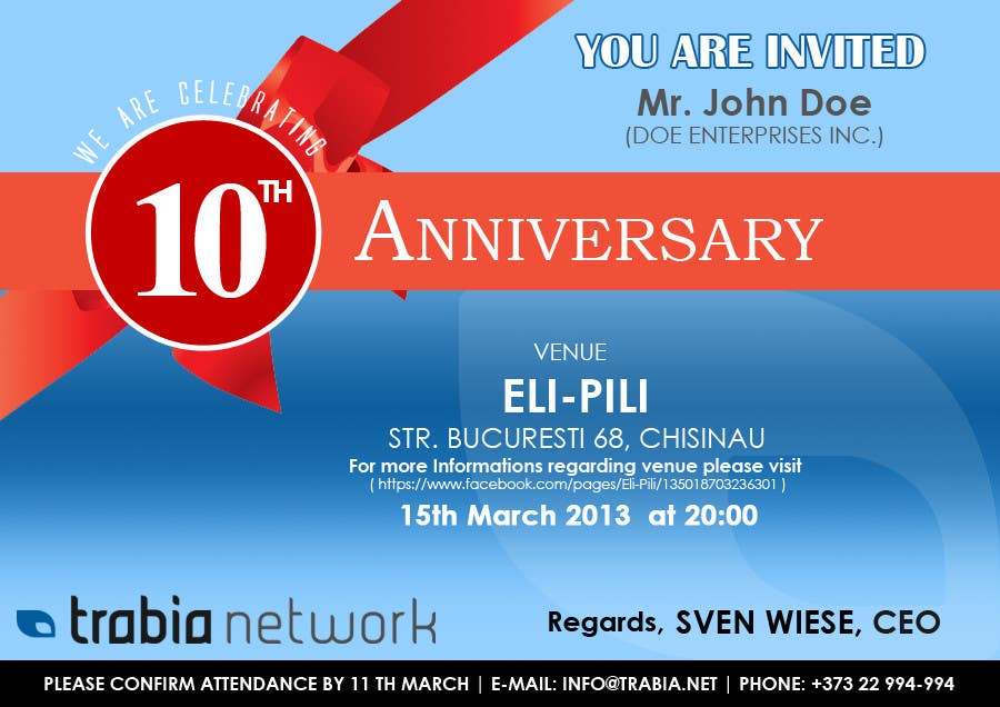 Contest Entry #128 for Corporate Party Invitation Design for 10th anniversary