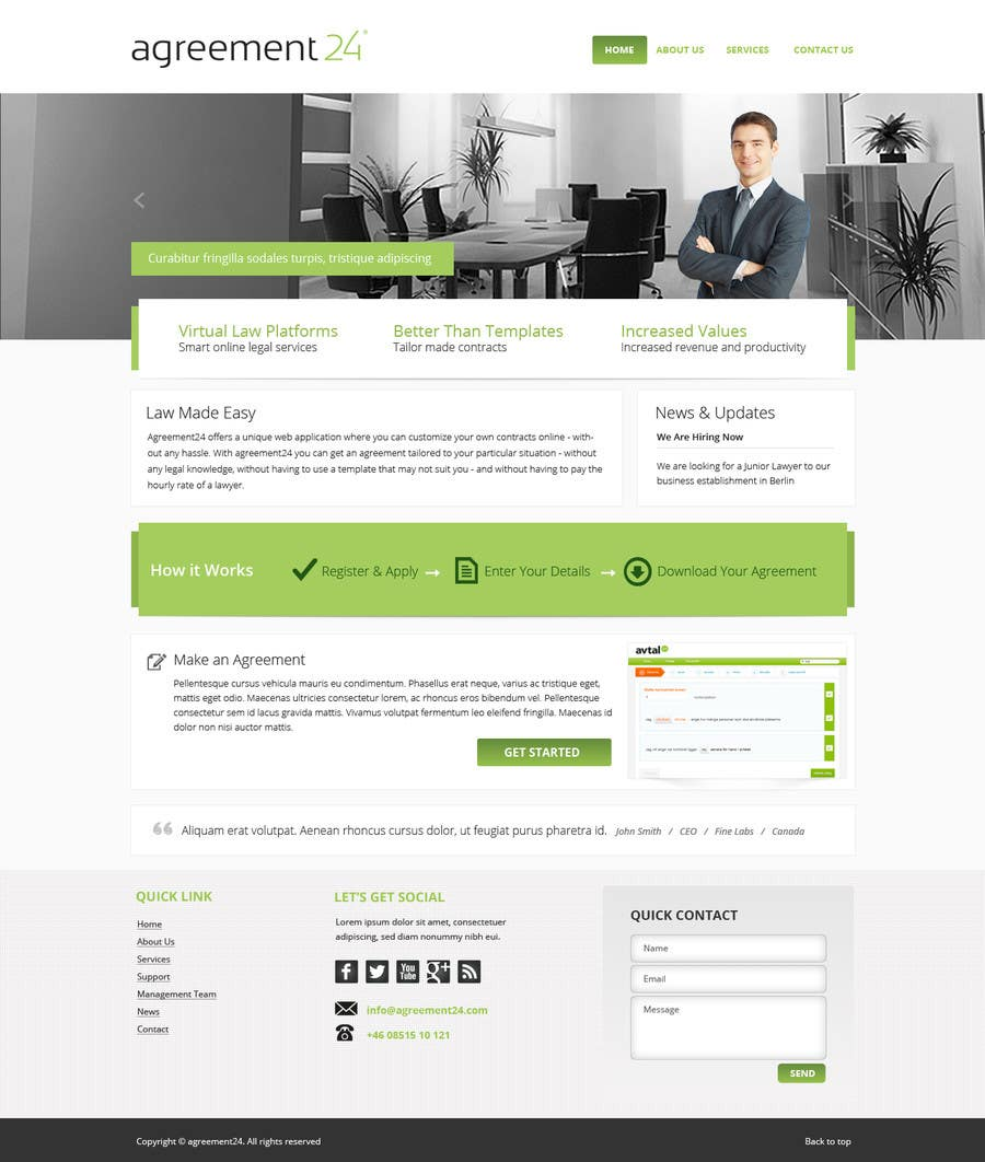 #3 for Graphic redesign - FRONT PAGE and sub template - agreement24.com website by Pavithranmm