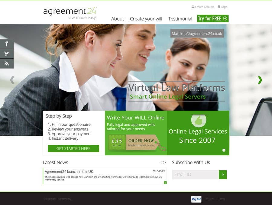 #15 for Graphic redesign - FRONT PAGE and sub template - agreement24.com website by datagrabbers
