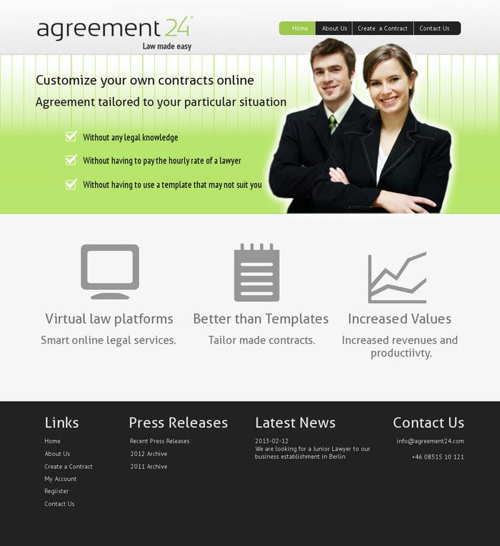 #1 for Graphic redesign - FRONT PAGE and sub template - agreement24.com website by vigneshhc
