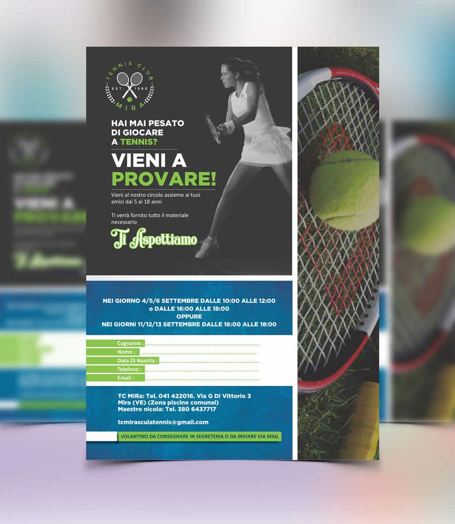 Entry #26 by meenapatwal for Tennis club flyer   Freelancer