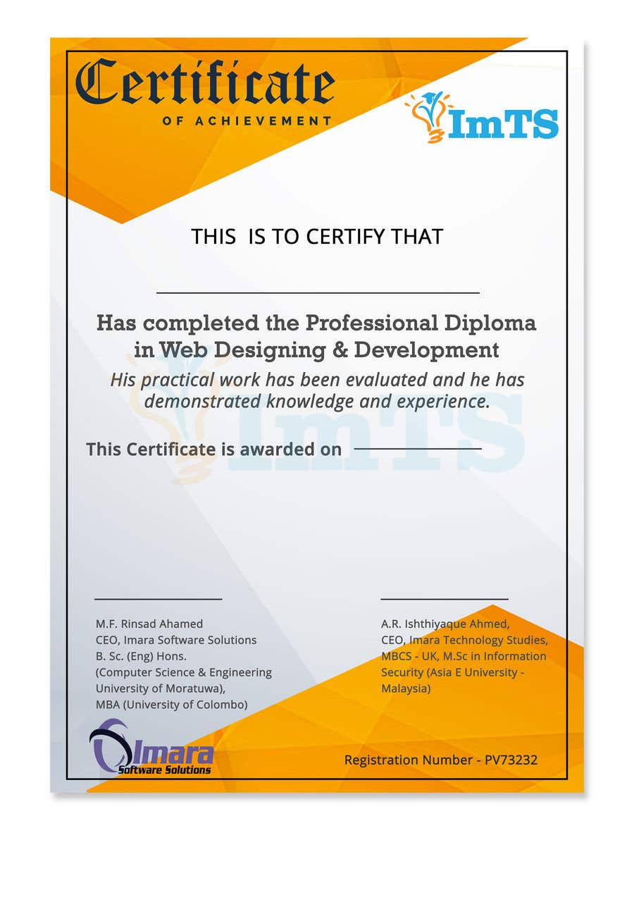 Proposition n°16 du concours Design a certificate for our Course