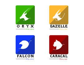 Nro 18 kilpailuun 4 School House Logos. We have Oryx (green), Gazelle (yellow), Falcon (blue) and Caracal (red). See image 1 for more details. Ive attached examples of online images. käyttäjältä JunaidAman
