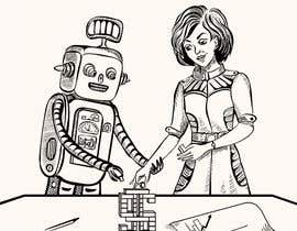 #14 para Draw a robot and a human in a business scene por movena