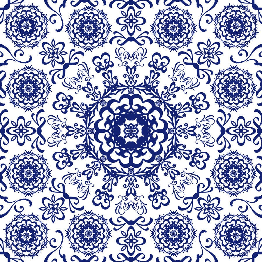 Entry 4 By Pbcates25 For Create A Blue And White Fabric Print