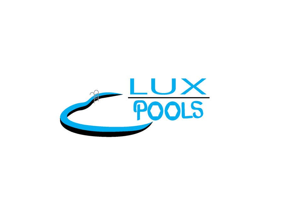 """Intrarea #3 pentru concursul """"My Business name is ( Lux Pools ) I'm trying to find a professional and unique design around the concept of pool installation. it must look professional and have a color theme of blue."""""""