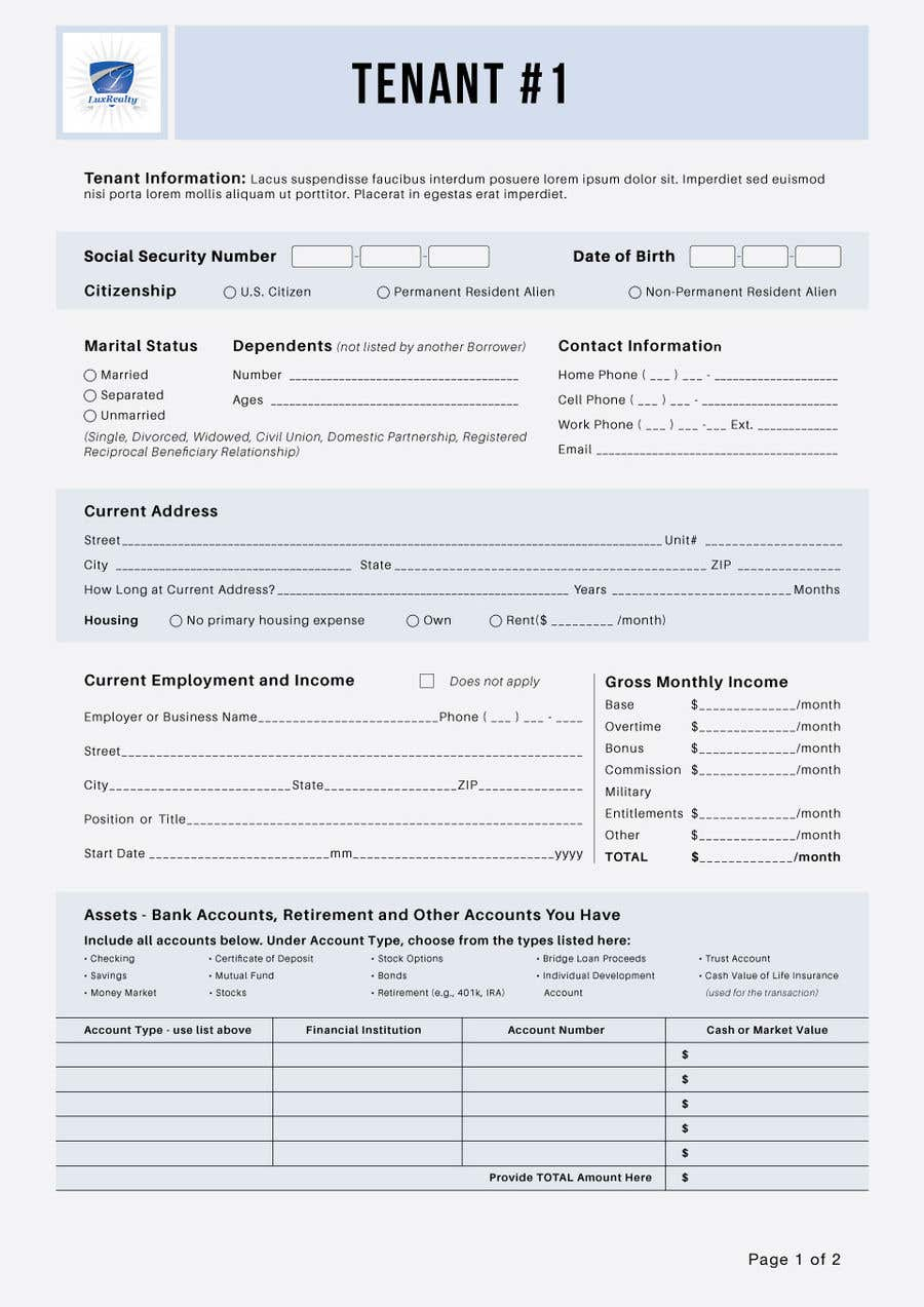 Entry #36 by Moshiur0101 for Make a pdf form fillable   Freelancer