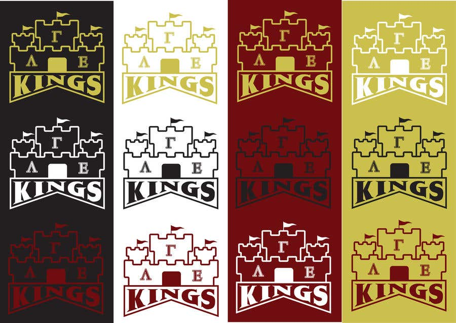 Kilpailutyö #12 kilpailussa we are a small organization that has been using the same logo (kings for years) we are looking for a new one to use for our social media and other things themes we typically stick w is a 4 pointed crown, knights and castles our letters are Lambda Gamma Ep