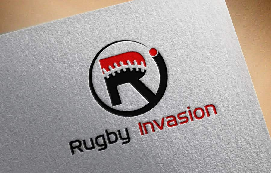 Penyertaan Peraduan #7 untuk I need a logo designed for a Rugby news website.  Website name - Rugby Invasion  Logo Ideally consist of RI (higher or lowercase) Rugby Invasion  Ruby ball or the shape Rugby posts  Looking for vibrant colours