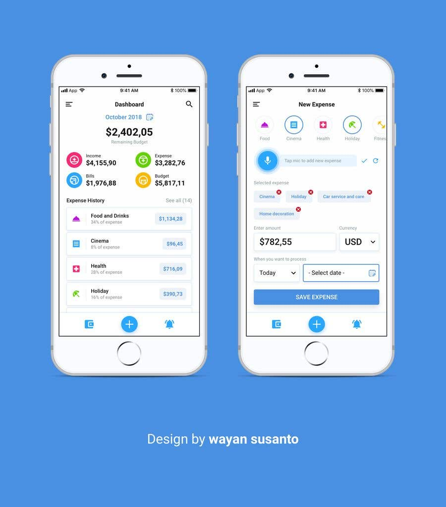 entry 28 by wayannst for design an app mockup for expense tracker