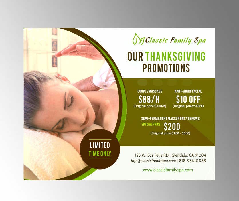 Entry 9 By Lgraquel For Design A Thanksgiving Seasonal Promotional Banner Ad For A Spa Freelancer