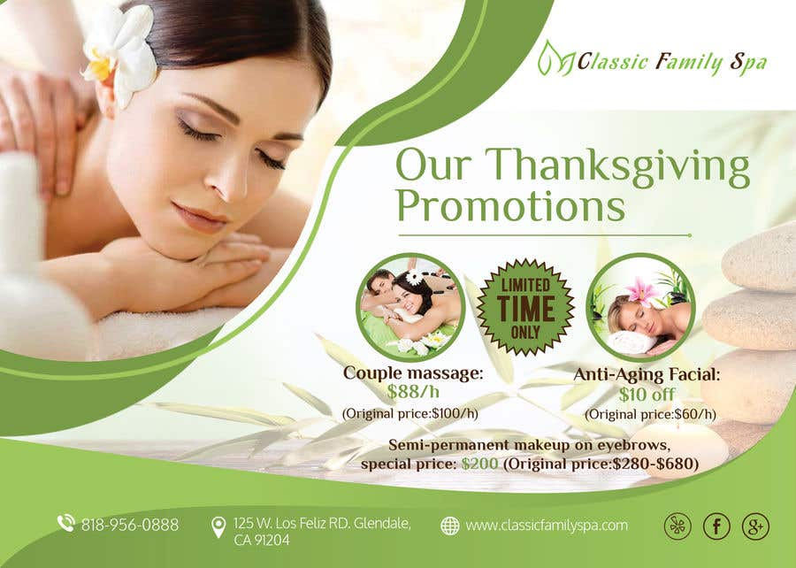 Entry 53 By Mukul703 For Design A Thanksgiving Seasonal Promotional Banner Ad For A Spa Freelancer