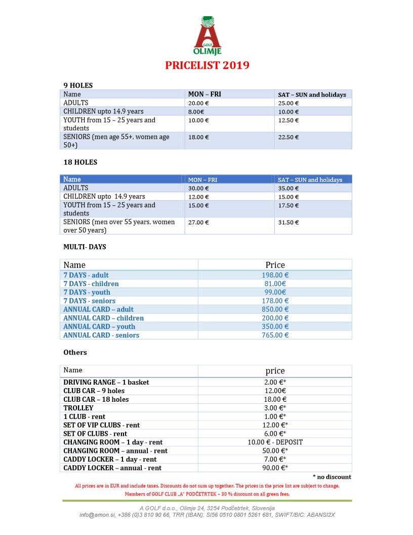 microsoft word price list