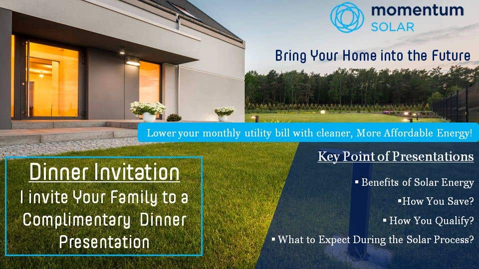 Proposition n°30 du concours Create a Leave-behind/Dinner Invitation for potential solar customers