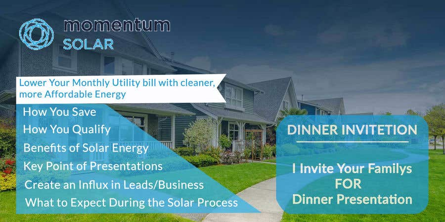 Proposition n°22 du concours Create a Leave-behind/Dinner Invitation for potential solar customers