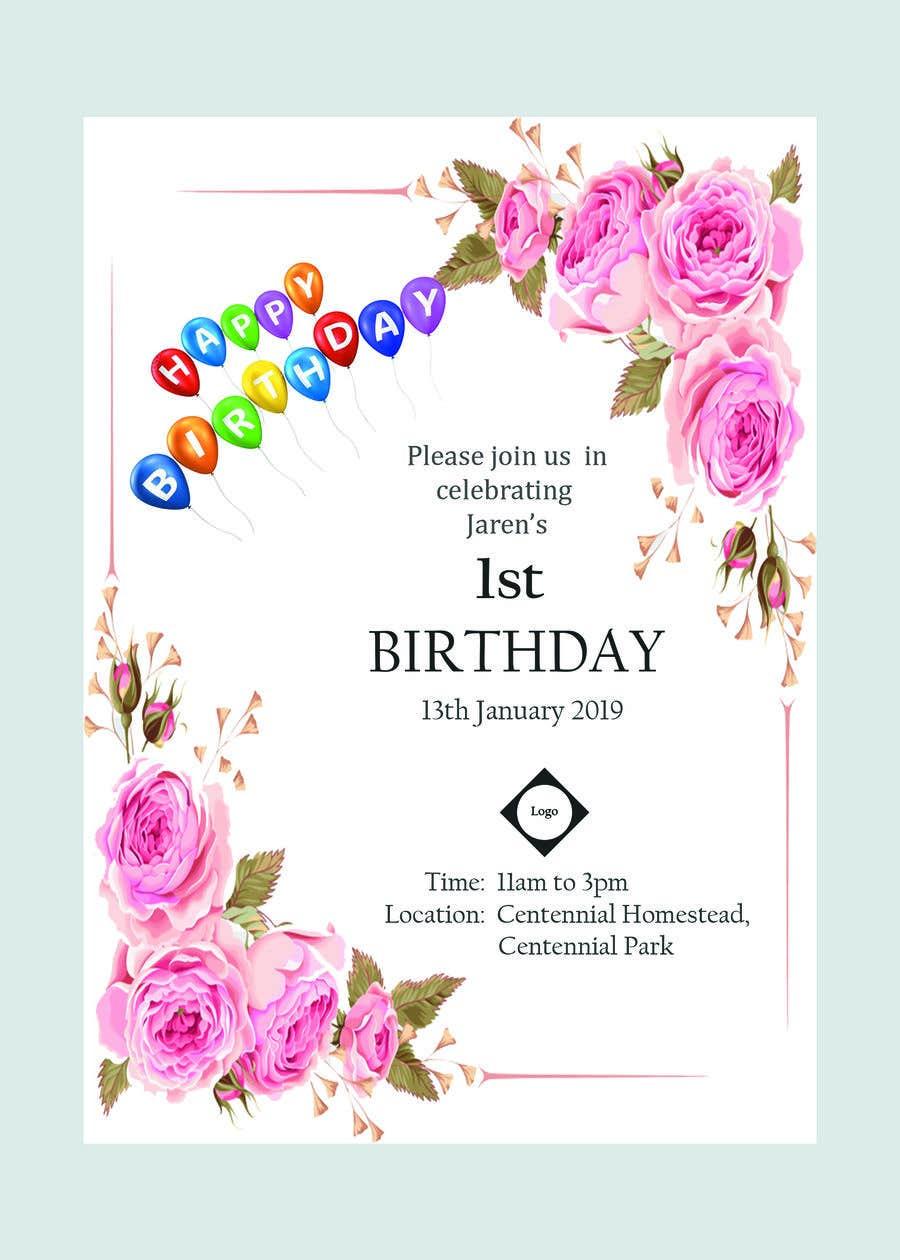 Kilpailutyö #7 kilpailussa I need a Birthday Invitation Done