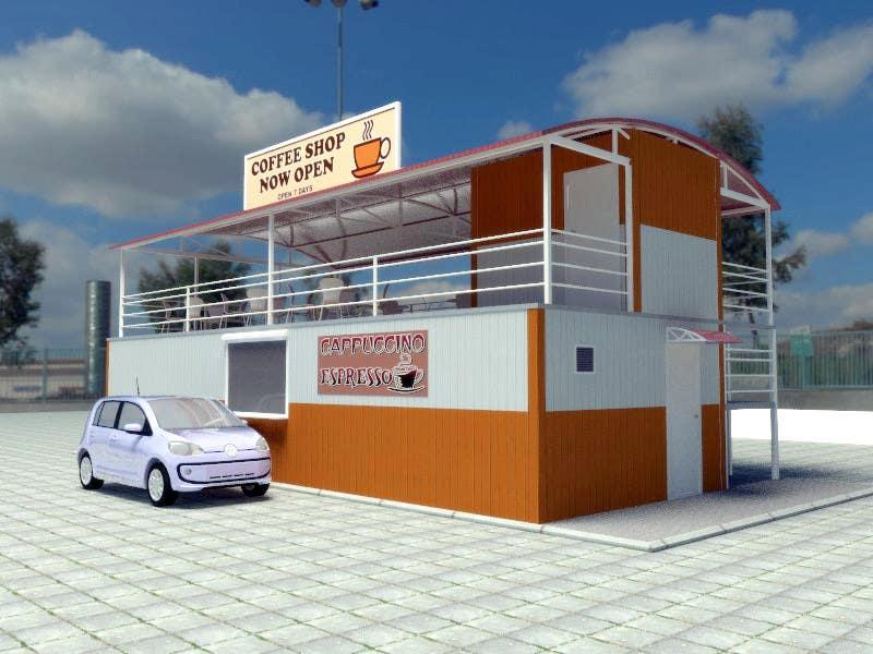 Exterior design for a drive thru coffee shop building for Small shop exterior design