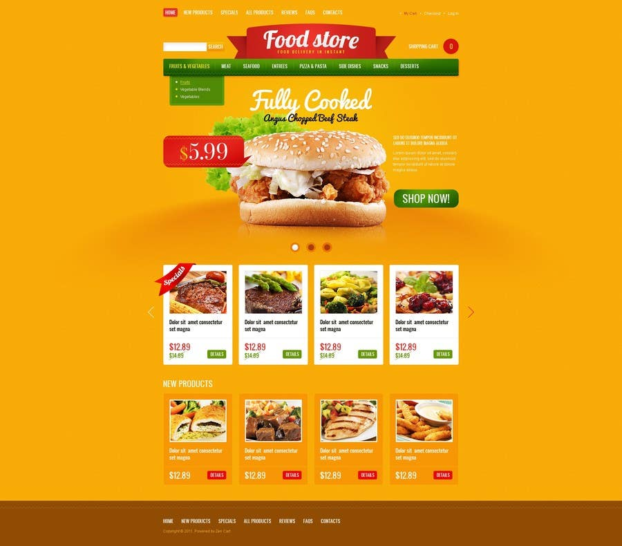 Entry 14 by madniinfoway01 for design template for opencart fast contest entry 14 for design template for opencart fast food takeaway website pronofoot35fo Images