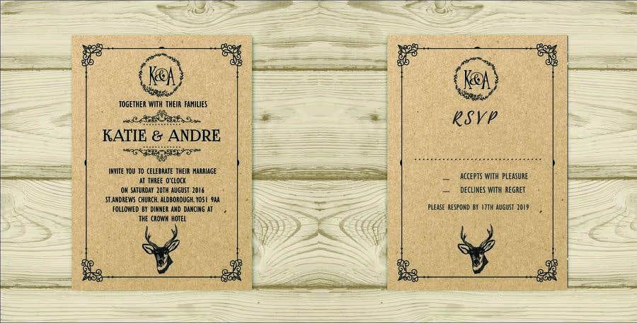 Kilpailutyö #20 kilpailussa Design a rustic wedding invite template