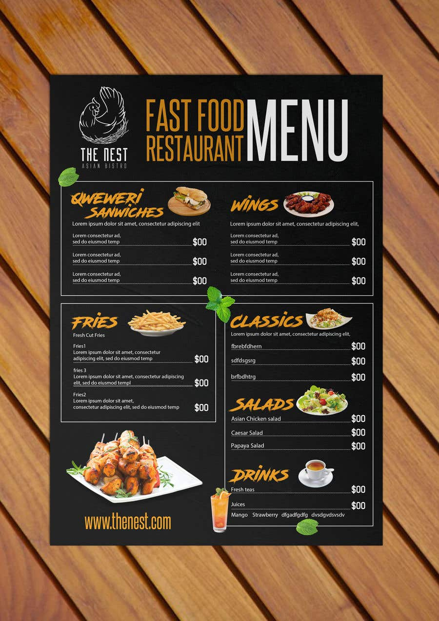 Entry 49 By Stylishwork For Fast Food Restaurant Menu Design Freelancer