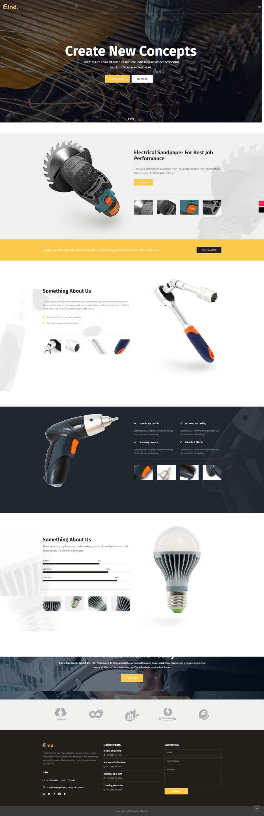 Penyertaan Peraduan #36 untuk wordpress theme design for battery and lighting subject