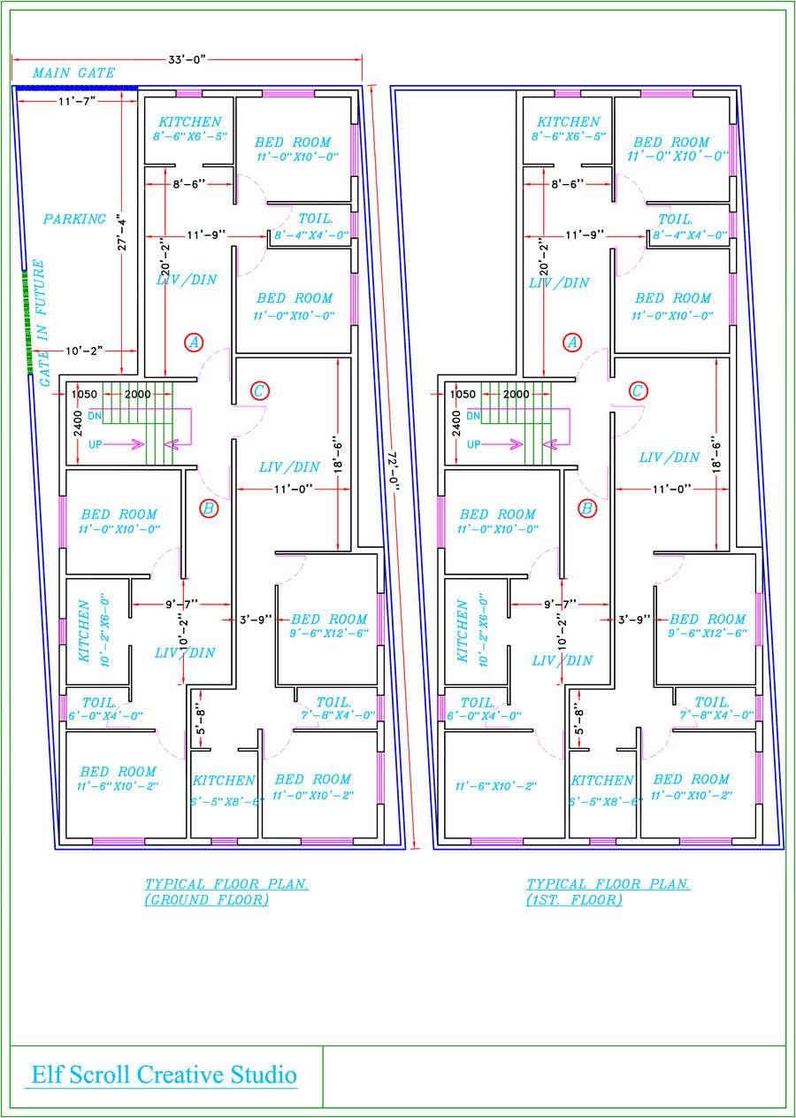Natečajni vnos #11 za Architectural design for an area of 72x33 feet