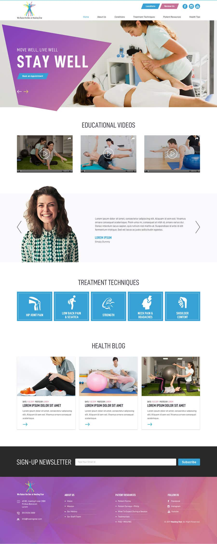 Penyertaan Peraduan #13 untuk Need PSD for physical therapy website home page