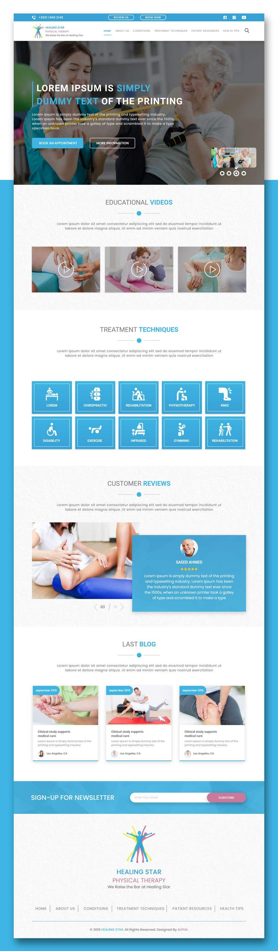 Penyertaan Peraduan #26 untuk Need PSD for physical therapy website home page