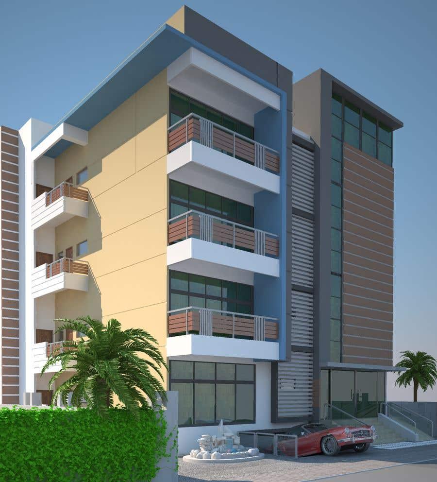 Bài tham dự cuộc thi #87 cho Improve 3D Building Exterior - Paint, Windows, Balcony, Entrance, Garden
