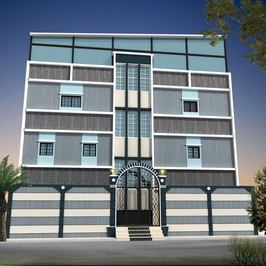 Proposition n°14 du concours 3D modeling/rendering of building facade by using 3ds Max to create new color design scheme